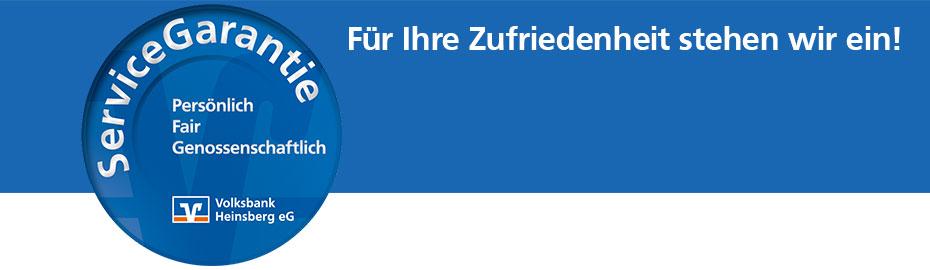 ServiceGarantie - Für Ihre Zufriedenheit stehen wir ein!
